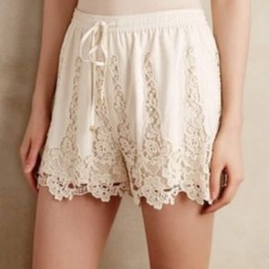 Anthropologie Lace Crochet White High Rise Shorts
